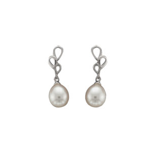 Freshwater Pearl Earrings, White Gold