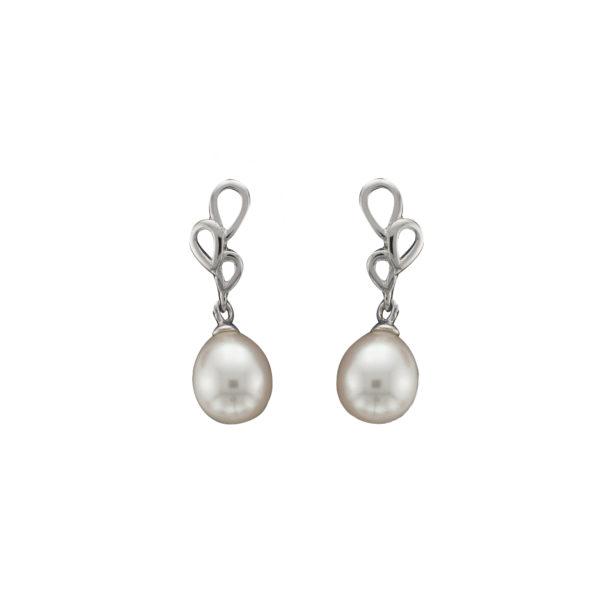 Freshwater Pearl Earrings, White Gold