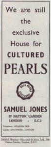 An original advert for Samuel Jones Pearls