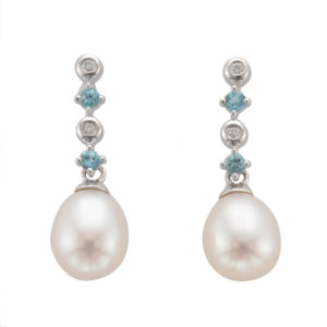 Freshwater Pearl, Diamond and Topaz Earring