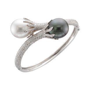 18CTW BANGLE S/S & TAH PEARLS DIA 4.20CT
