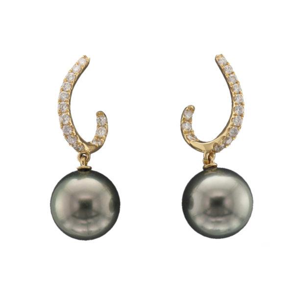 18CTY TAHITIAN PEARL DIAMOND EARRING