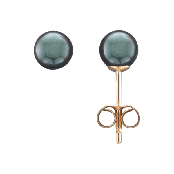 5MM BLACK AKOYA PEARL STUD EARRING