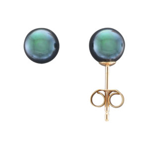 6MM BLACK AKOYA PEARL STUD EARRING