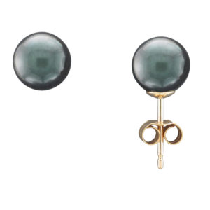8MM BLACK AKOYA PEARL STUD EARRING