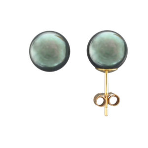 9.5MM BLACK AKOYA PEARL STUD EARRING