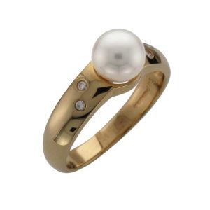 18CTY AKOYA CULTURED PEARL & DIAMOND RING DIA 0.05CT